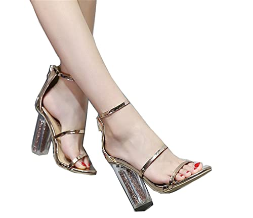 3b843abc245 Latest Women Open Toe Strappy Ankle Strap Gold Sandals Crystal Transparent  Clear Block Thick High Heel Sequined Shoes gold 5  Amazon.ca  Shoes    Handbags