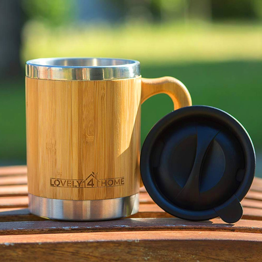 Bamboo Insulated Coffee Mug with Lid - Great Travel Design - Larger 13.5 Ounce Size - Wooden Handle and Barrel - Stainless Steel - Double Wall Insulation - Ideal for Coffee, Tea, Cold Drinks by Lovely 4 Home (Image #6)