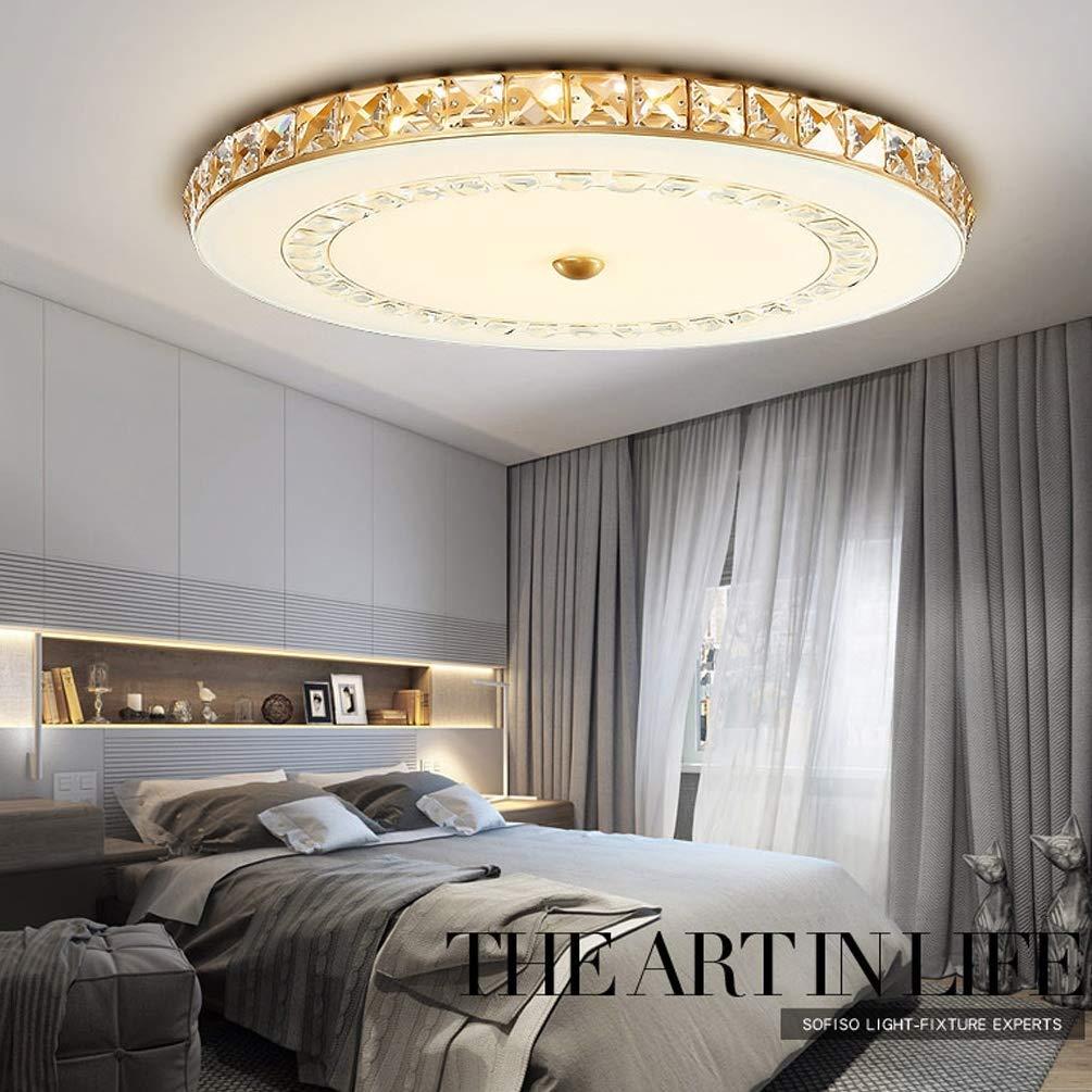 Modern LED Deckenleuchte Minimalistische Kristall Glas Lampeschirm Goldfarben Deckenlampe Innenbeleuchtung für Schlafzimmer Wohnzimmer Klassisch Kronleuchter Kristall lampe Dimmbar mit Fernbedienung