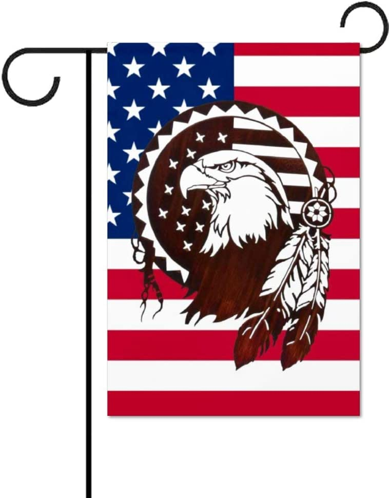 Invinciblefrme Native American Symbols Eagle Decorative Small Garden Flag Double Sided - Outdoor Indoor House Yard Decoration, 12 x 18 inch