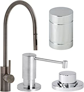 product image for Waterstone 5300-4-SN Parche Single Handle Kitchen Faucet with Pull Out Spray, Soap Dispenser, Air Gap and Air Switch, Satin Nickel