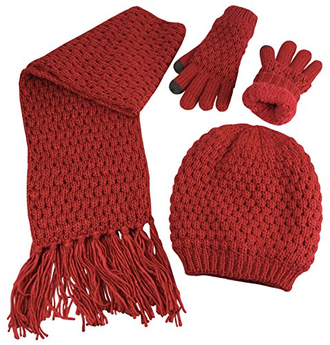 Popcorn Cable Hat - N'Ice Caps Big Girls Sherpa Lined Popcorn Stitch Beanie Gloves Scarf 3PC Set (10-14 Years, Red)