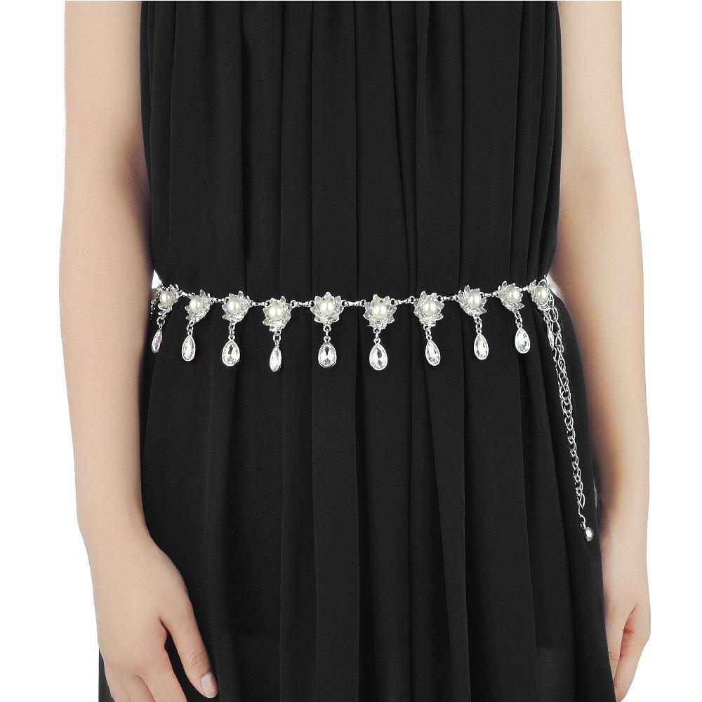 Belly Dance Metal Hanging Flower Drop Tassel Waist Chains Bohemian Belt Adjustable