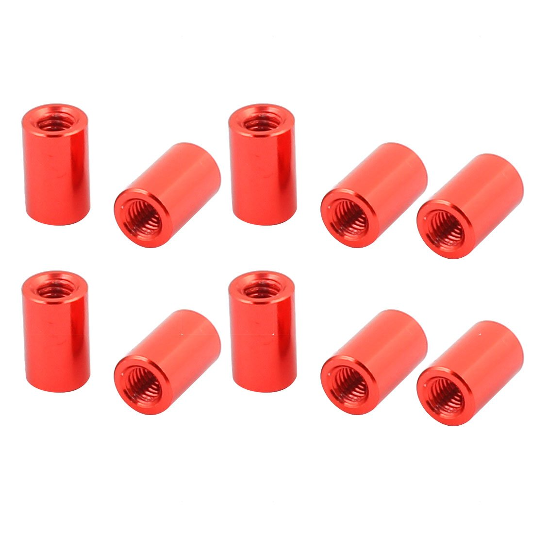 sourcingmap® 10 Pcs M3 x 8mm Round Aluminum Column Alloy Standoff Spacer Stud Fastener for Quadcopter Red SYNCTEA044430