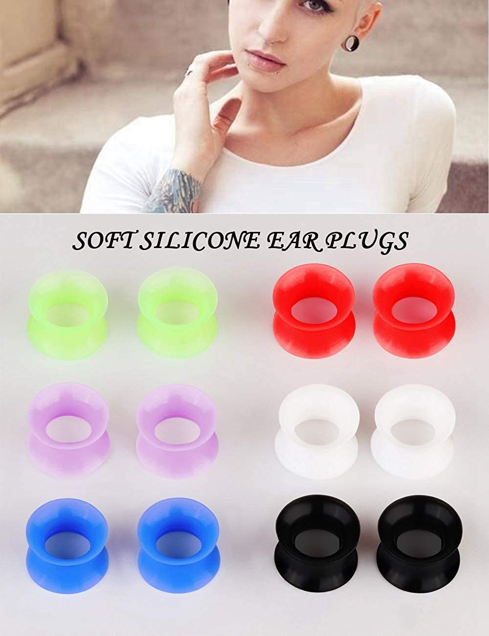 Hanpabum 24PCS Soft Silicone /& Stainless Steel Double Flared Screwed Flexible Ear Plug Tunnel Stretcher Expander Ear Piercing Jewelry Gauges 0G-1//2