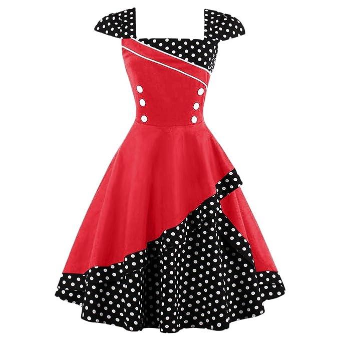 FNKSCRAFT Mujer Algodón vintage 60s dress vestidos vintage rockabilly Lunares Vestidos Vintage