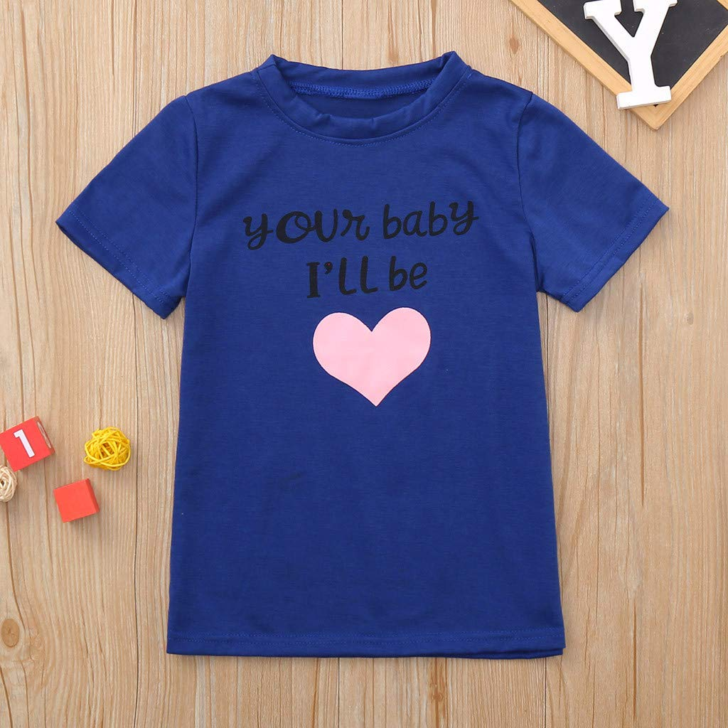 Tantisy /♣↭/♣ Family Matching Outfits ✿ Mommy and Girl Letter Print Love Short Sleeve T-Shirts Parent-Child Tops