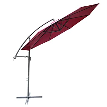 Outsunny 3 m jardín Patio sombrilla parasol Banana para colgar Juego de ratán paraguas voladizo –