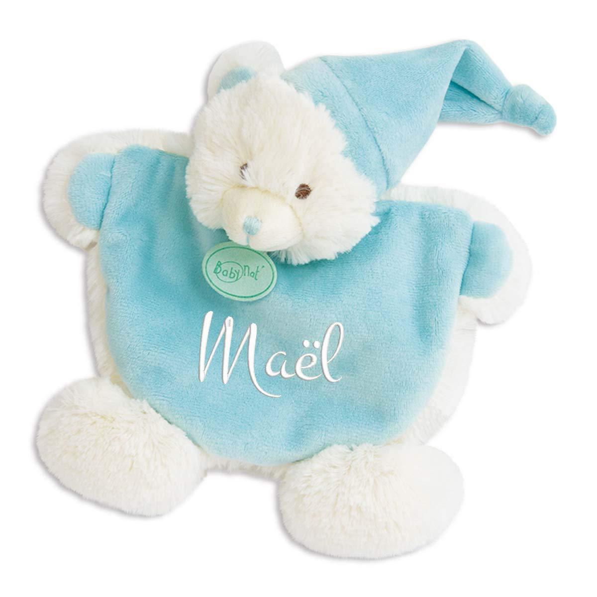 Doudou ourson bleu à broder avec prénom - Les Câlins - cadeau liste de naissance - cadeau personnalisé naissance - cadeau personnalisé Noël