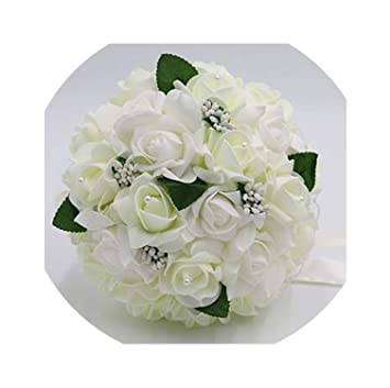 Amazon Com Ivory Wedding Bouquet Artificial Rose Lace Bridal