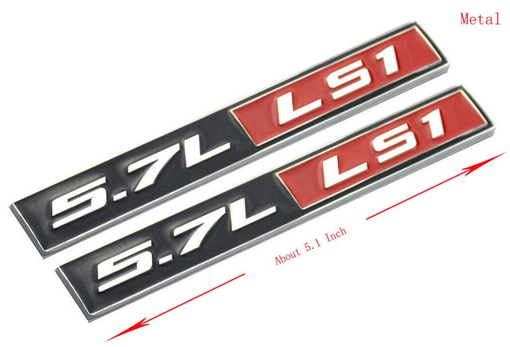 Pair Set Aluminum Adhesive LS1 5.7L Badges 3D Engine Fender Emblems Universal Sticker Black//Red