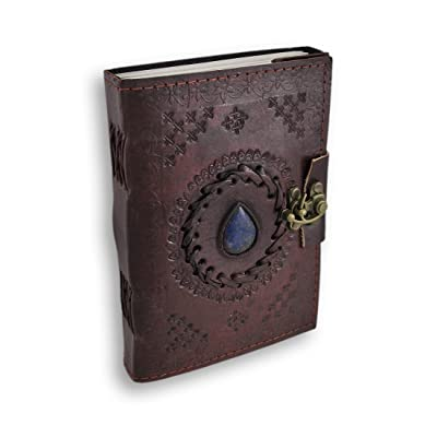 Leather Journal with blue stone Writing Pad Blank Notebook Handmade Notepad For Men & Women Unlined Paper Best Present Art Sketchbook Travel Diary To Write Book Of Shadow Refillable Grimoire: Office Products