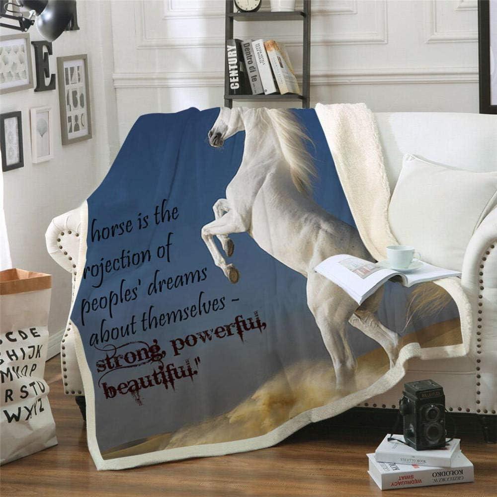 MOUPSDT Impresión 3D Manta de Sherpa Caballo Animal Blanco Azul Reversible para niños niños Adultos Manta sólida de Dibujos Animados de Felpa Impresa para Cama sofá 150x200 cm