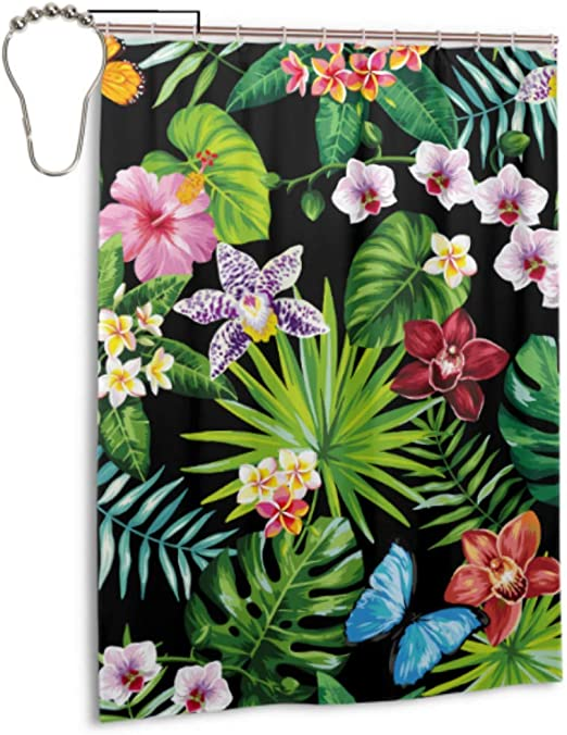 """Tropical Palm Leaves Flower Blossom Waterproof Polyester Shower Curtain Set 72/"""""""