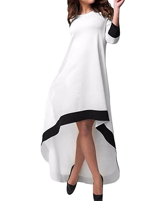 StyleDome Vestido Asimétrico Casual Elegante Oficina Playa Fiesta Noche Cóctel Mangas 3/4 Mujer Blanco
