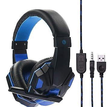 Sencillo Vida Auriculares Gaming Cascos Gaming con Cable y Micrófono para PS4 o PC, Sonido