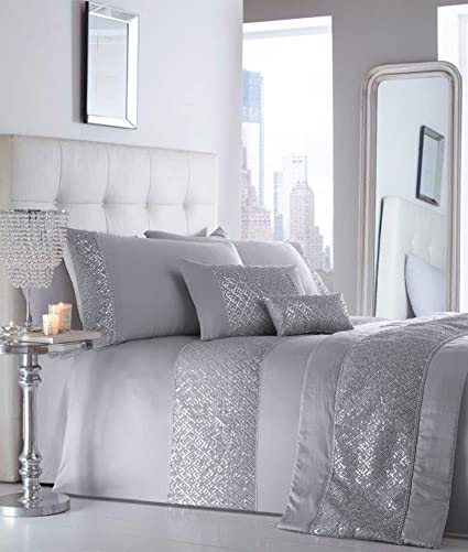 Grey King Size Bedding Sets.Portfolio King Size Luxury Duvet Sets Grey Or White With Silver Sequin Diamante Trim Duvet Set Cushion Runner Silver