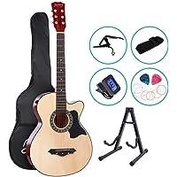 38 Inch Acoustic Guitar Classical Guitar CAPO Strap Tuner Pick ALPHA - Black