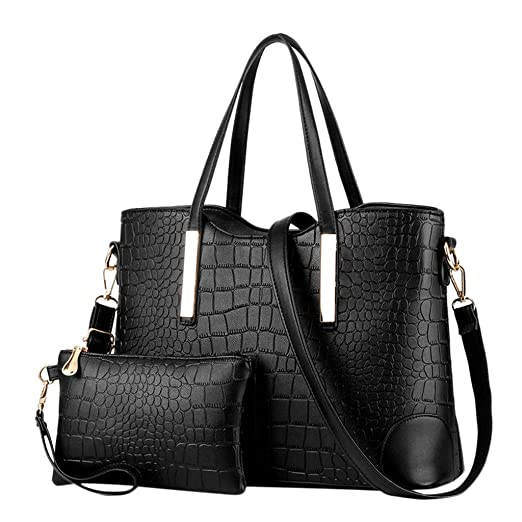 fcd40d914133b HYSGM 2Pcs Women Pattern PU Leather Solid Color Fashion Handbag+Wallets For  Ladies gift