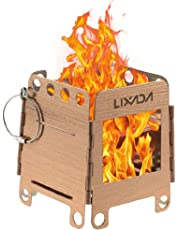 Lixada Camping Stove Stainless Steel Folding Wood Stove Pocket Stove Portable Outdoor Camping Cooking Picnic Backpacking Stove