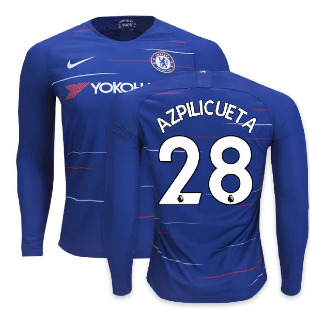 2018-2019 Chelsea Home Nike Long Sleeve Football Soccer T-Shirt Trikot (Cesar Azpilicueta 28)