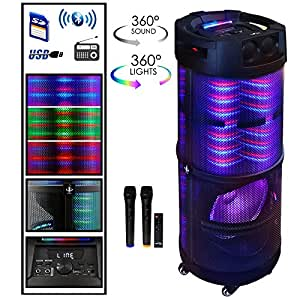 beFree Sound 12 Inch Bluetooth Portable Party Speaker With 360 Degree Sound Reactive LED Lights and Dual Wireless Microphones