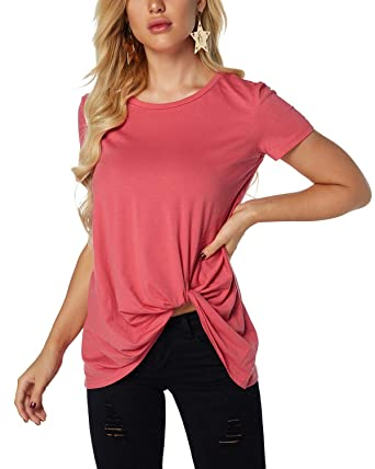 bbada27352 YOINS Women Round Neck Short Sleeve Loose Fit T-Shirts Plain Crossed Front  Design Blouse
