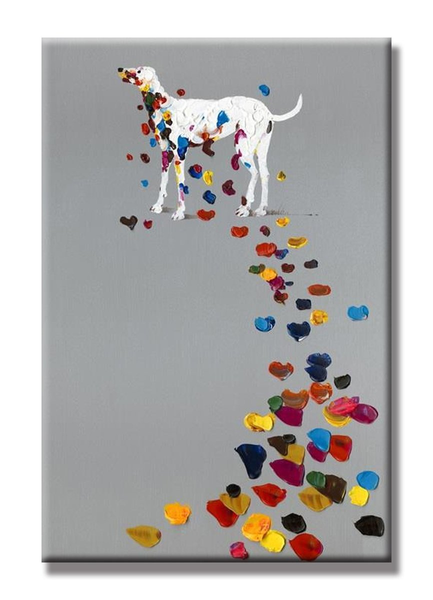SEVEN WALL ARTS - 100% Hand Painted Oil Painting Animal Funny Artwork for Home Decor 24 x 36 Inch (Colorful Footprint)