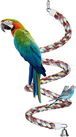 2 PCS Bird Perch Rope Bungee Bird Toy Pure Natural Parrot Toy Cage Parrot Chewing Toy Rope Bungee Bird Toy Colorful Parrot Swing Toys Parrot Toy Pure Natural Colorful Bead Cage Parrot Chewing Toy(Yellow)