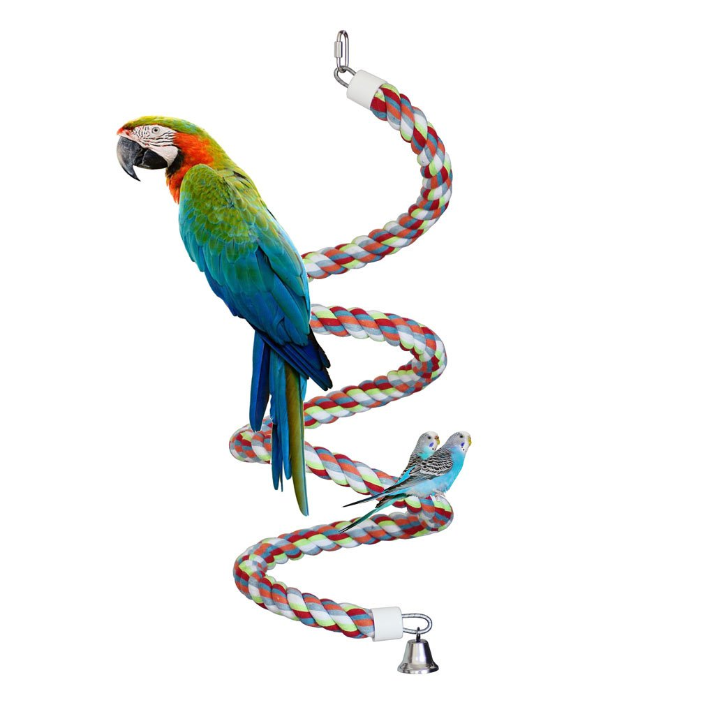 KINTOR Rope Bungee Perch Bird, 83inch Pure Natural Colorful Bead Cage Chewing Toys for Small Medium Parrot (83inch Length) by KINTOR