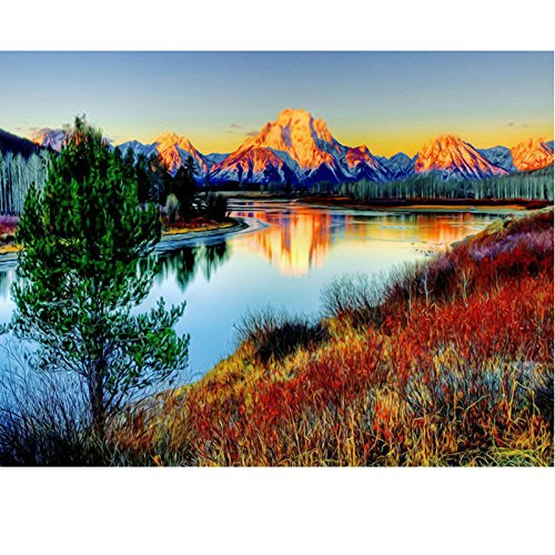 JynXos PaintWorks Paint By Number Kit, River Mountain 16x20 Inch Frameless