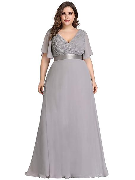 163f32c9f42 Ever Pretty Women s V Neck with Short Sleeveles A Line Empire Waist Floor  Length Chiffon Formal