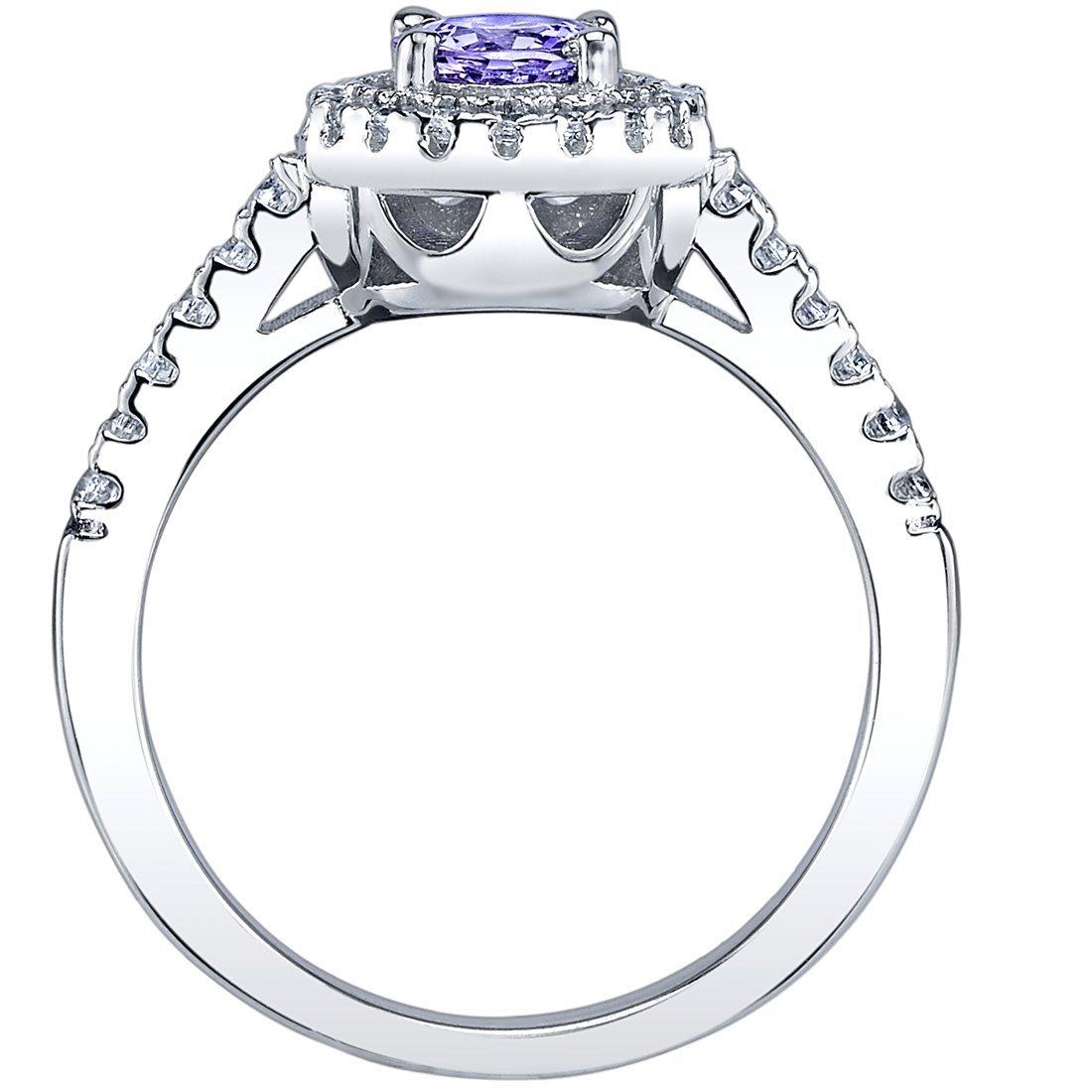 Peora 0.50 Carat Tanzanite Halo Ring Sterling Silver Sizes 5 to 9