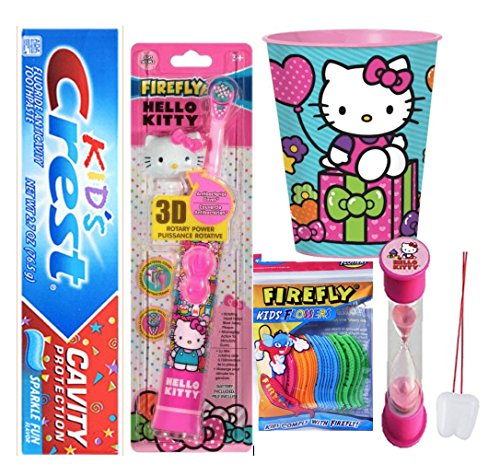 Hello Kitty Inspired 4pcs Bright Smile Oral Hygiene Bundle! Turbo Spin Toothbrush, Toothpaste, Brushing Timer & Mouthwash Rinse Cup! Plus Bonus Flossers &Remember to Brush Visual Aid!