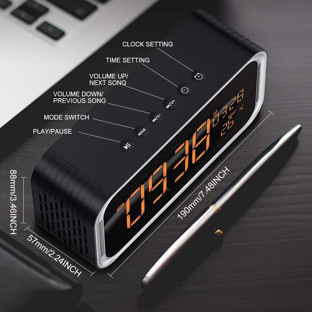 Wireless Portable Bluetooth Speaker,ZEPST 4.2 Hi-Fi Speaker with Stereo HD Sound,Built-in Mic Hands-free Phone Calling,FM,Two Passive Subwoofers,Time,Temperature,Double Alarm Clock,Great for Traveling