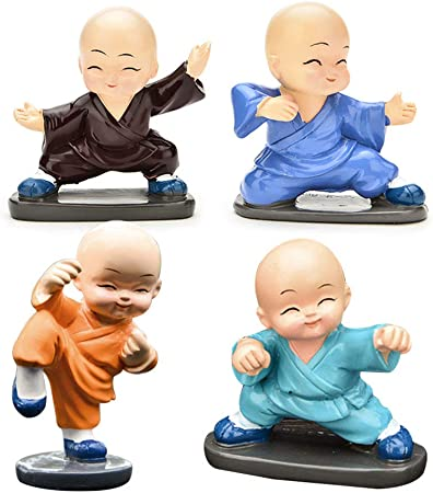 Handcarved Crafts Collectable Little Monk Figurines For Car Home Decoration