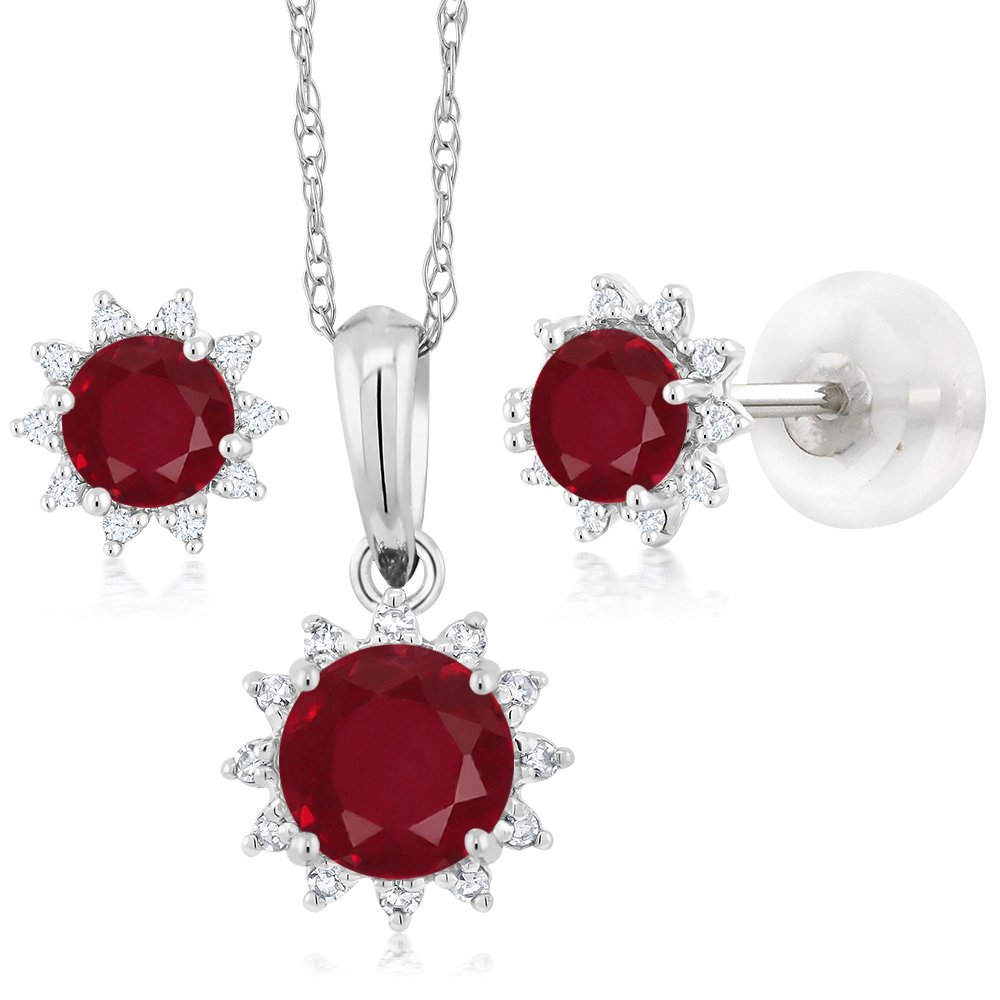 18K White Gold 1.49 Ct Red Ruby and Diamond Pendant Earrings Set