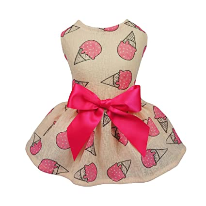 b4ec9dcce938 Fitwarm Sweet Ice Cream Pet Clothes for Dog Dresses Vest Shirts Sundress  Pink Small