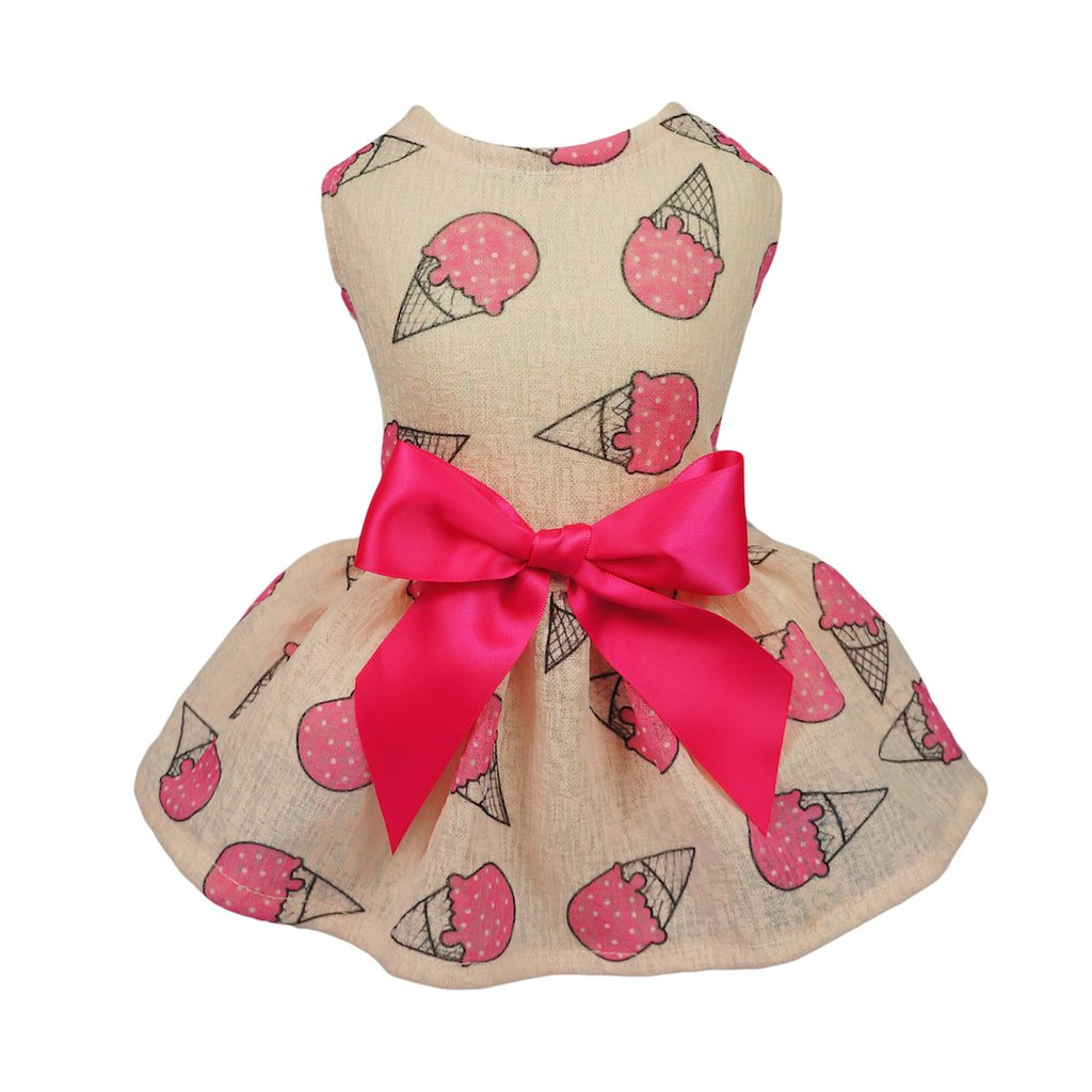 Fitwarm Sweet Ice Cream Pet Clothes for Dog Dresses Vest Shirts Sundress Pink XS