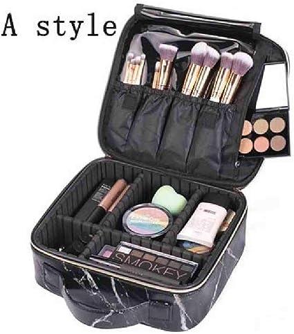 OYHBGK Nueva maleta de maquillaje profesional de moda femenina para estuche de cosméticos Marble Women Big Cosmetic Bag Cuero para estuche de manicura: Amazon.es: Belleza