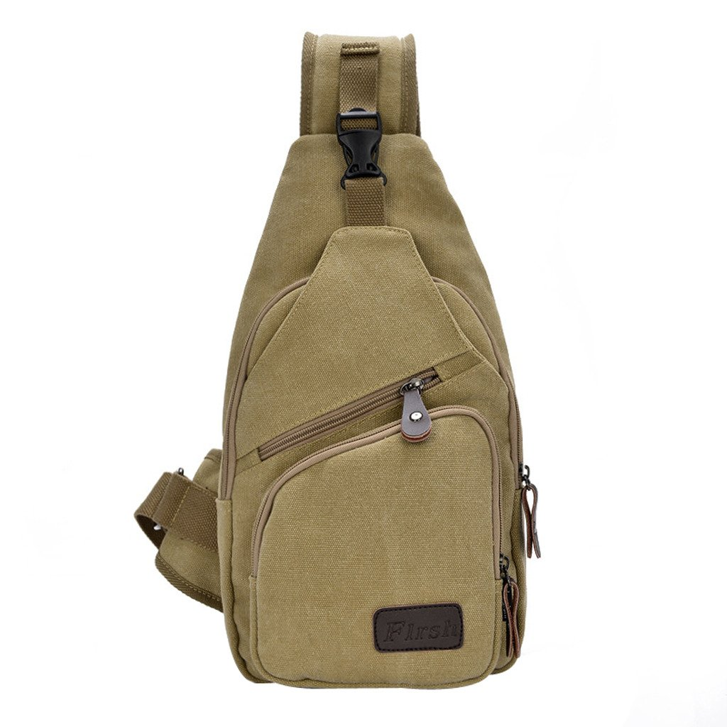Daosen Sports Unbalance Backpack Sling Bag for Men Canvas Chest Pack/Hiking Bag Khaki by Daosen