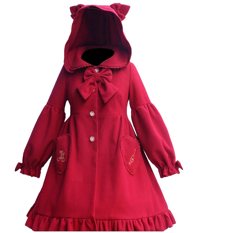 Partiss Women's Cute Button Down Tweed Cat Ears Thicken Woolen Hooded Cape Coat