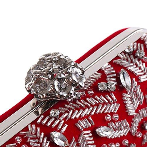 Borsa Banchetti Per Moda A Black colore Sera Alla Tracolla Borse Da Red In Mano Velluto Rilievo Donne rIUqXr