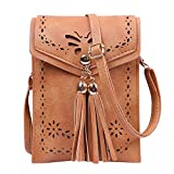 HDE Small Crossbody Pouch Purse Tassel Travel Phone Wallet Vintage Leather Bags (Brown)