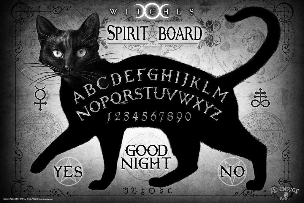 Black Cat Spirit Board Alchemy of England Spooky Witchy Gothic Laminated Dry Erase Wall Poster 12x18