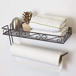 Home Basics , Bronze Scroll Collection Wall Mounted Paper Holder with Basket, Multi-Purpose Shelf Storage Towels, Toiletries, Supplies