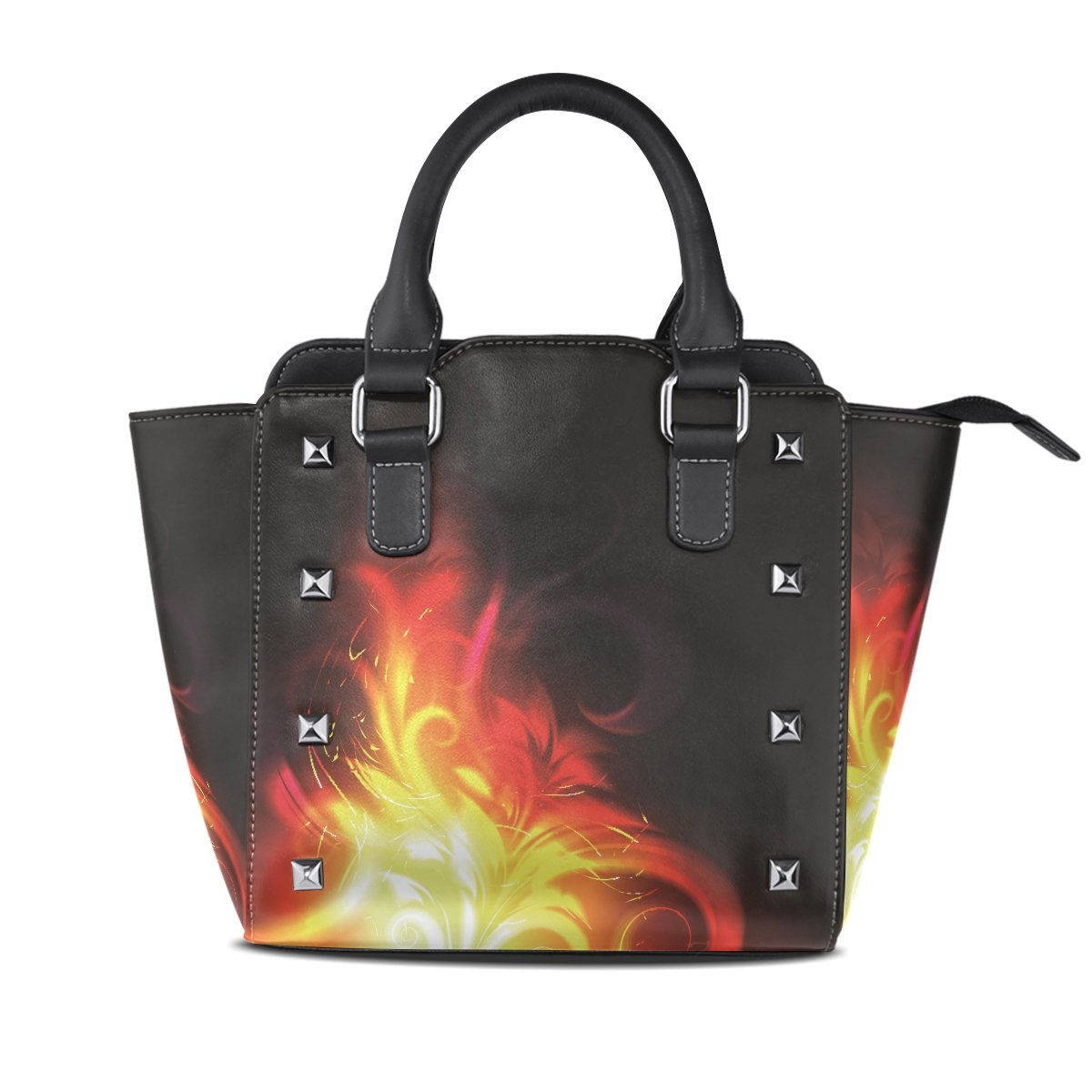 Womens Genuine Leather Hangbags Tote Bags Flame Purse Shoulder Bags