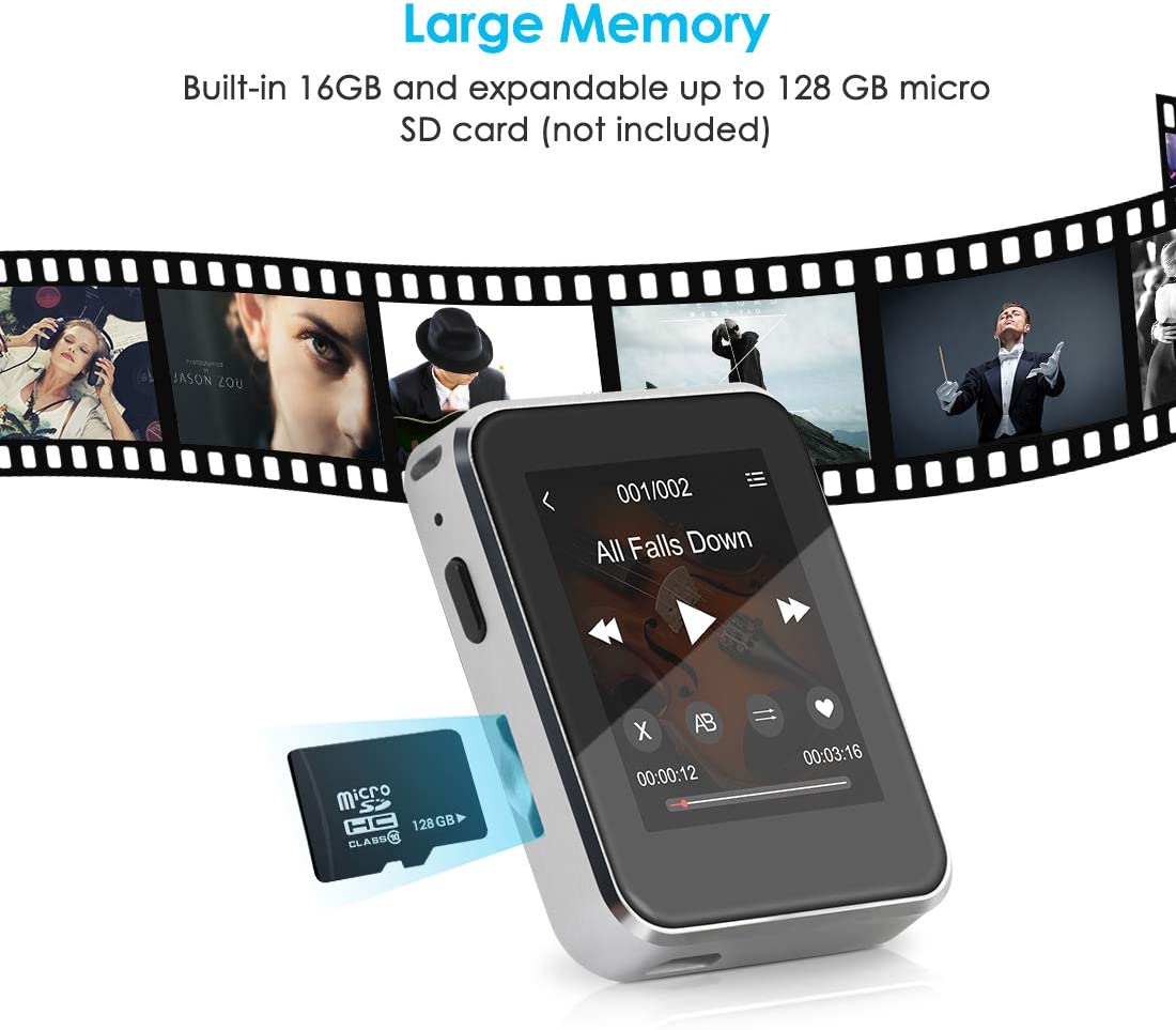 MP3 Player 16GB with BT 4.1 Supports TF up to 128GB,Timoom X1 MP3 HiFi Lossless Sound Music Player with 1.77 inch Full Touch Screen Built-in Speaker Support FM Radio//Voice Recorder E-Book Headphones