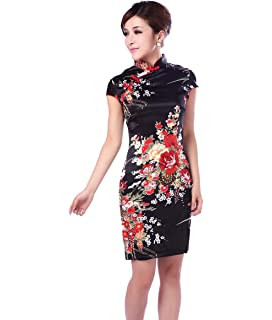 558d0c794 Amazon.com: AvaCostume Women's Chinese Silk Floral Qipao Button Long ...