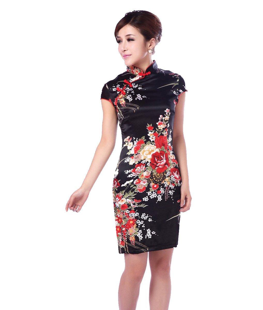 YueLian Women's Chinese Evening Cheongsam Short Qipao Dress (China XXL= US 10, Black)